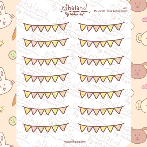 Mid-Autumn Festival Bunting Banners Planner Stickers (D085)