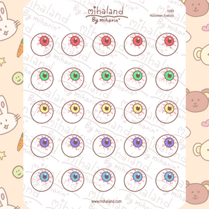 Halloween Eyeballs Planner Stickers (D088)