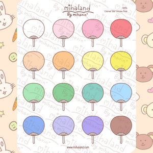 Colored Idol Uchiwa Fans Planner Stickers (D096)