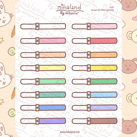 Colored Idol Wota Lightsticks Planner Stickers (D103)