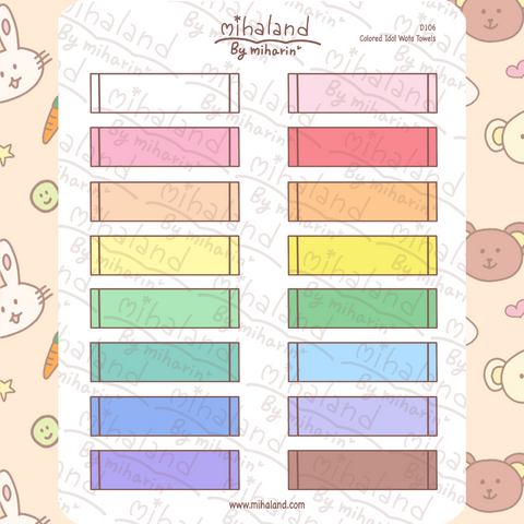 Colored Idol Wota Towels Planner Stickers (D106)