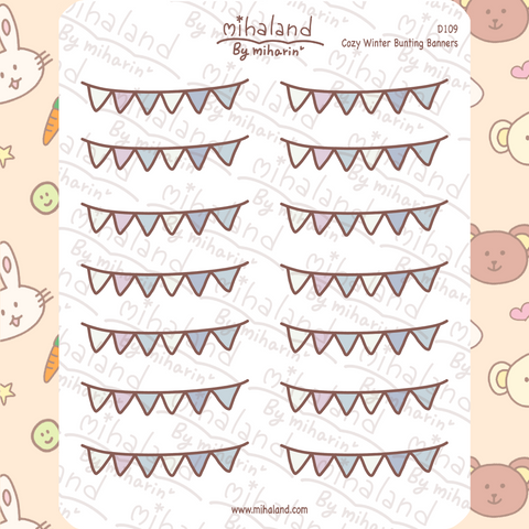 Cozy Winter Bunting Banners Planner Stickers (D109)
