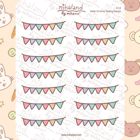 Pastel Christmas Bunting Banners Planner Stickers (D110)