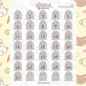 RIP Tombstone Date Covers Planner Stickers (F028)