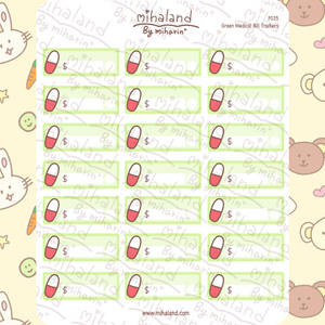 Green Medical Bill Trackers Planner Stickers (F035)