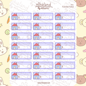 Purple Rent Trackers Planner Stickers (F041)