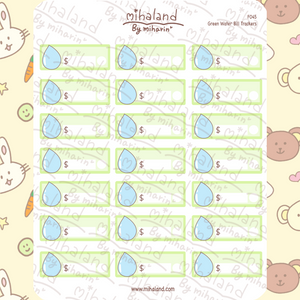 Green Water Trackers Planner Stickers (F045)