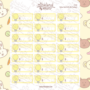 Yellow Electricity Bill Trackers Planner Stickers (F048)