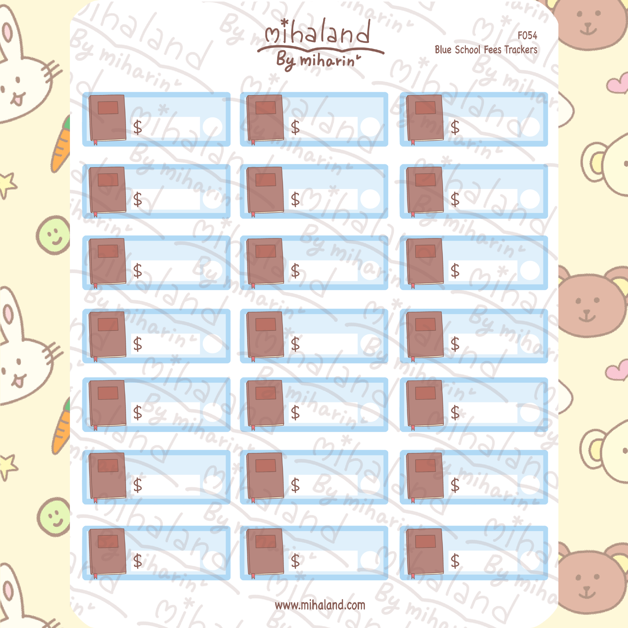 Blue School Fees Trackers Planner Stickers (F054)