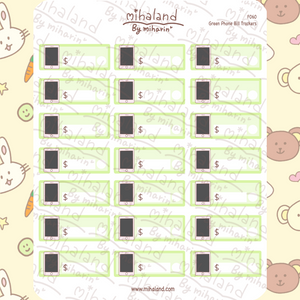 Green Phone Bill Trackers Planner Stickers (F060)