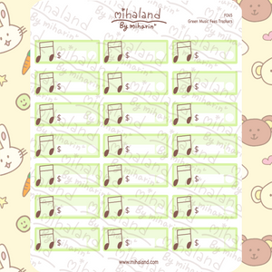 Green Music Fees Trackers Planner Stickers (F065)