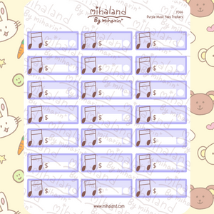 Purple Music Fees Trackers Planner Stickers (F066)