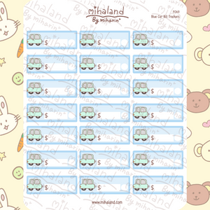 Blue Car Bill Trackers Planner Stickers (F069)