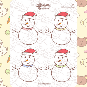 Winter Snowman Notes Planner Stickers (F076)