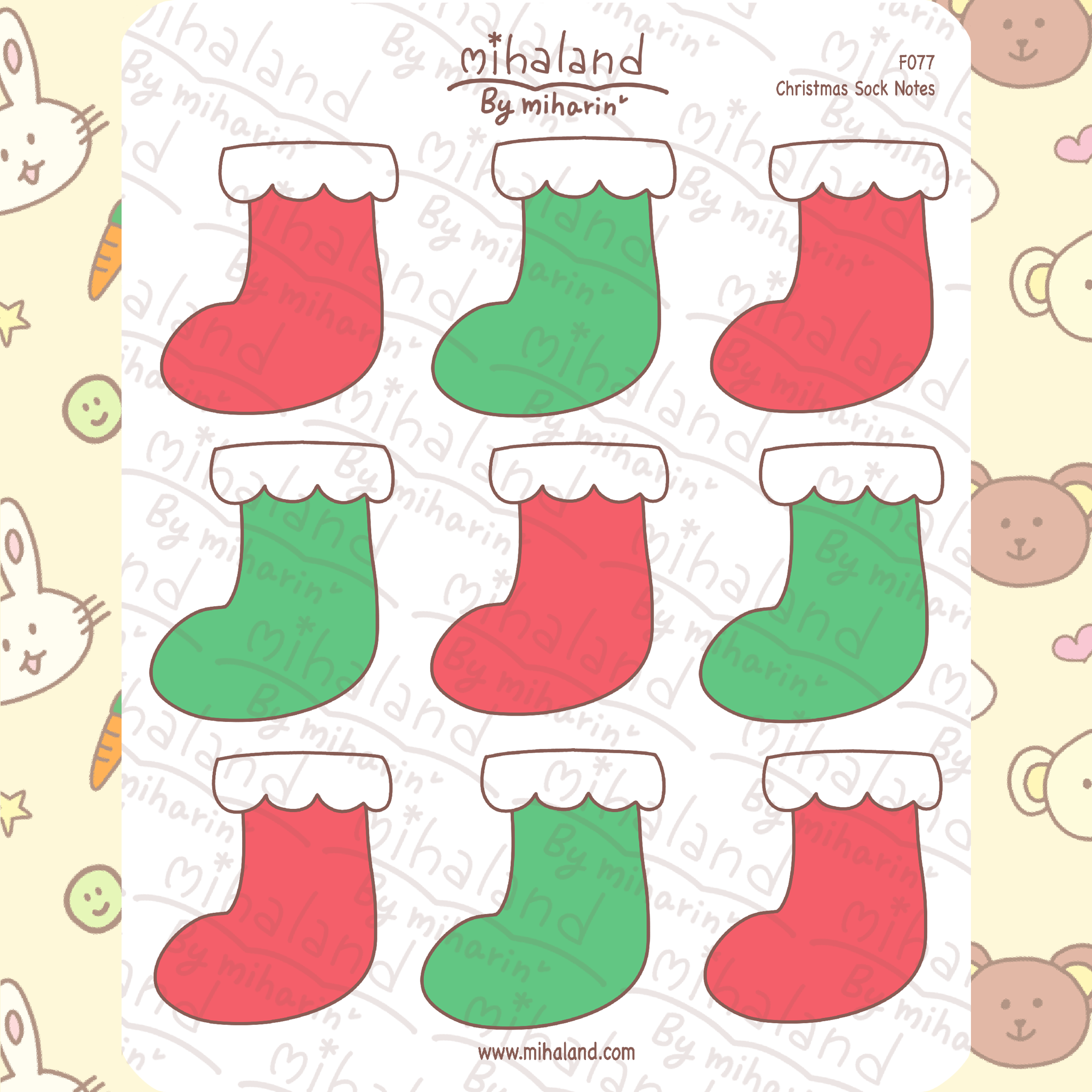 Christmas Socks Notes Planner Stickers (F077)