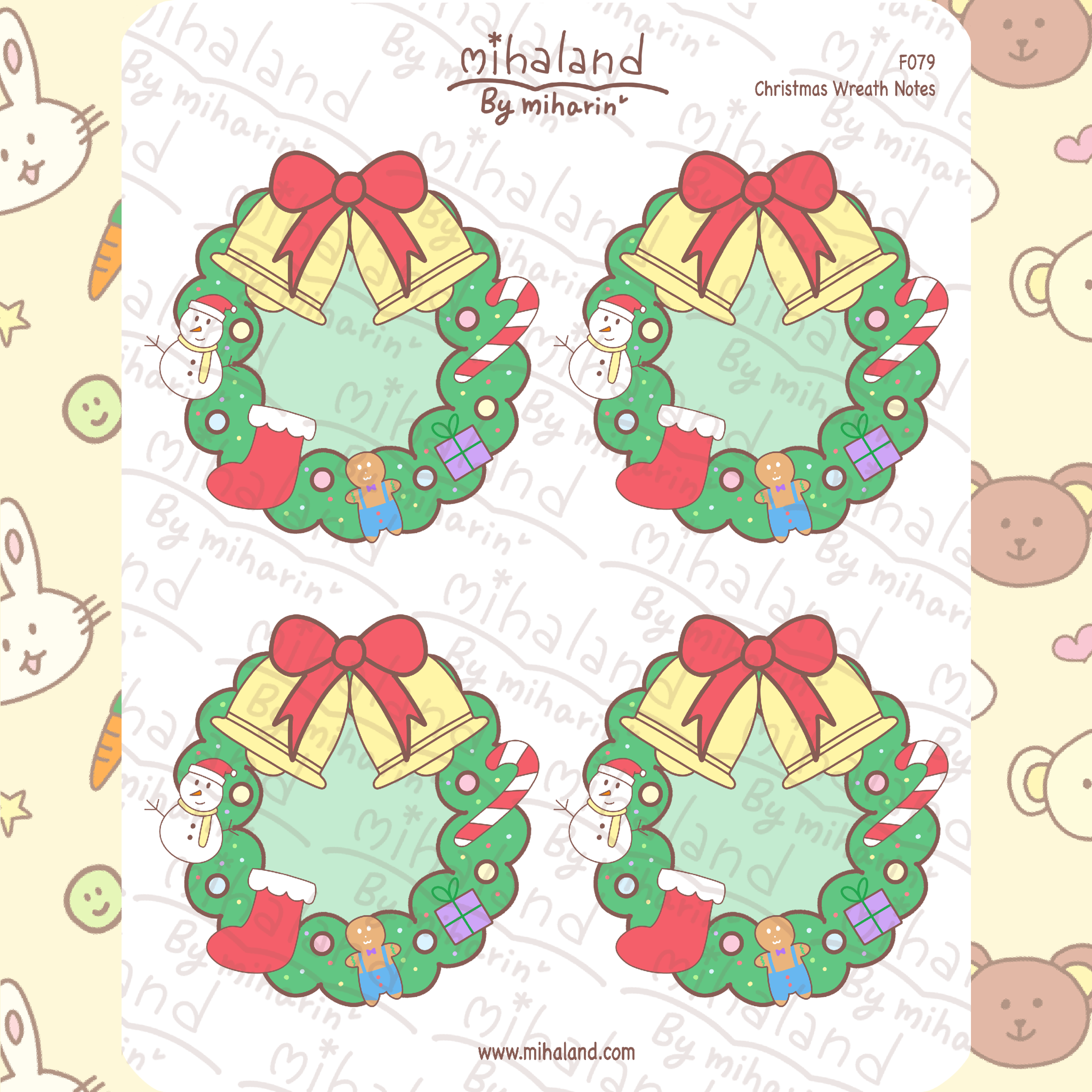 Christmas Wreath Notes Planner Stickers (F079)