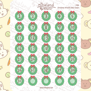 Christmas Wreath Date Covers Planner Stickers (F086)