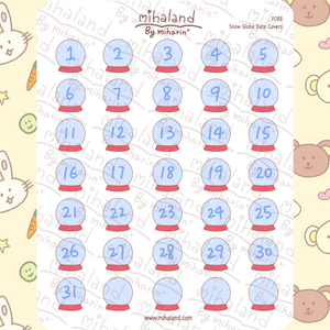 Snow Globe Date Covers Planner Stickers (F088)