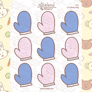 Lace Mittens Notes Planner Stickers (F091)