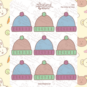 Plain Winter Hat Notes Planner Stickers (F092)