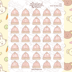 Winter Hat Date Covers Planner Stickers (F095)
