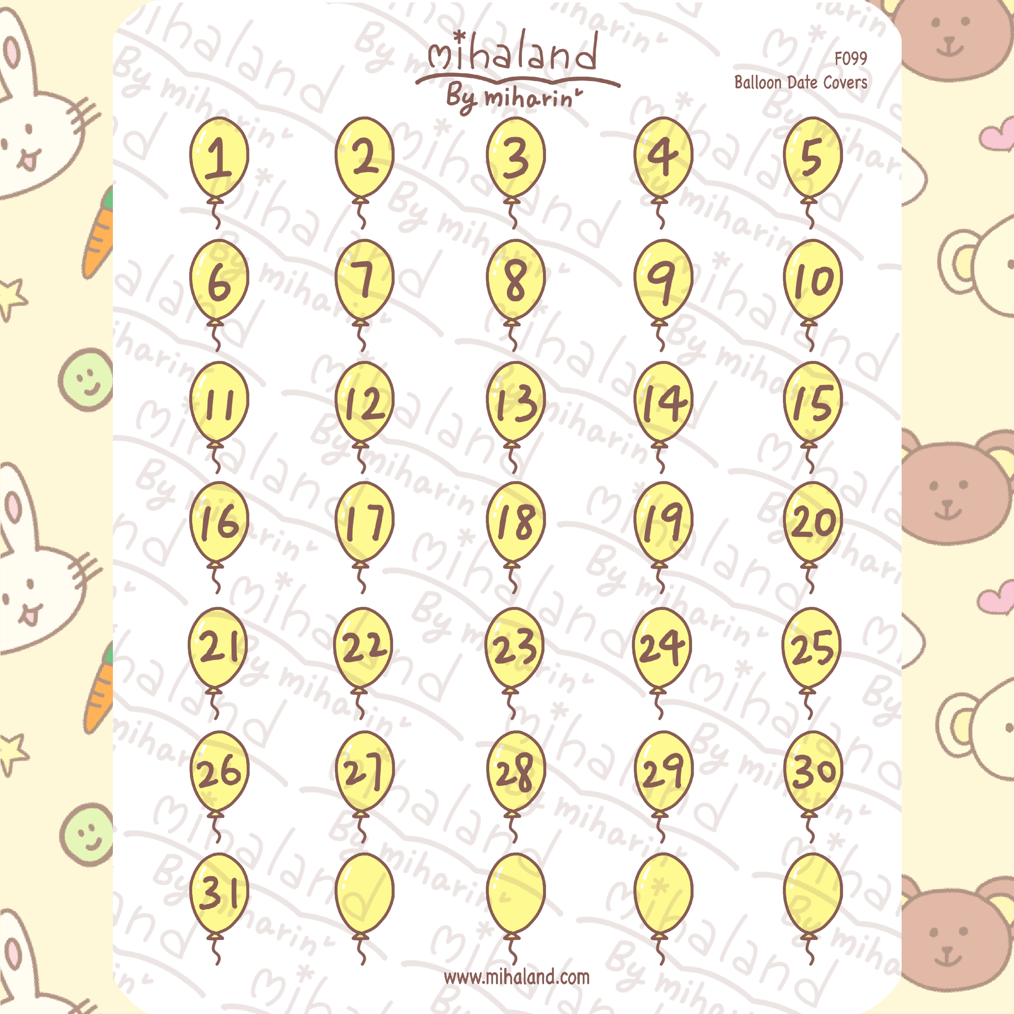 Balloon Date Covers Planner Stickers (F099)