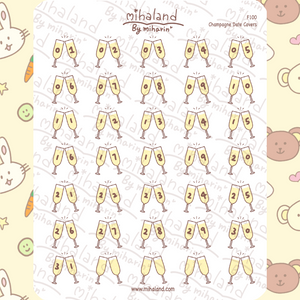 Champagne Date Covers Planner Stickers (F100)