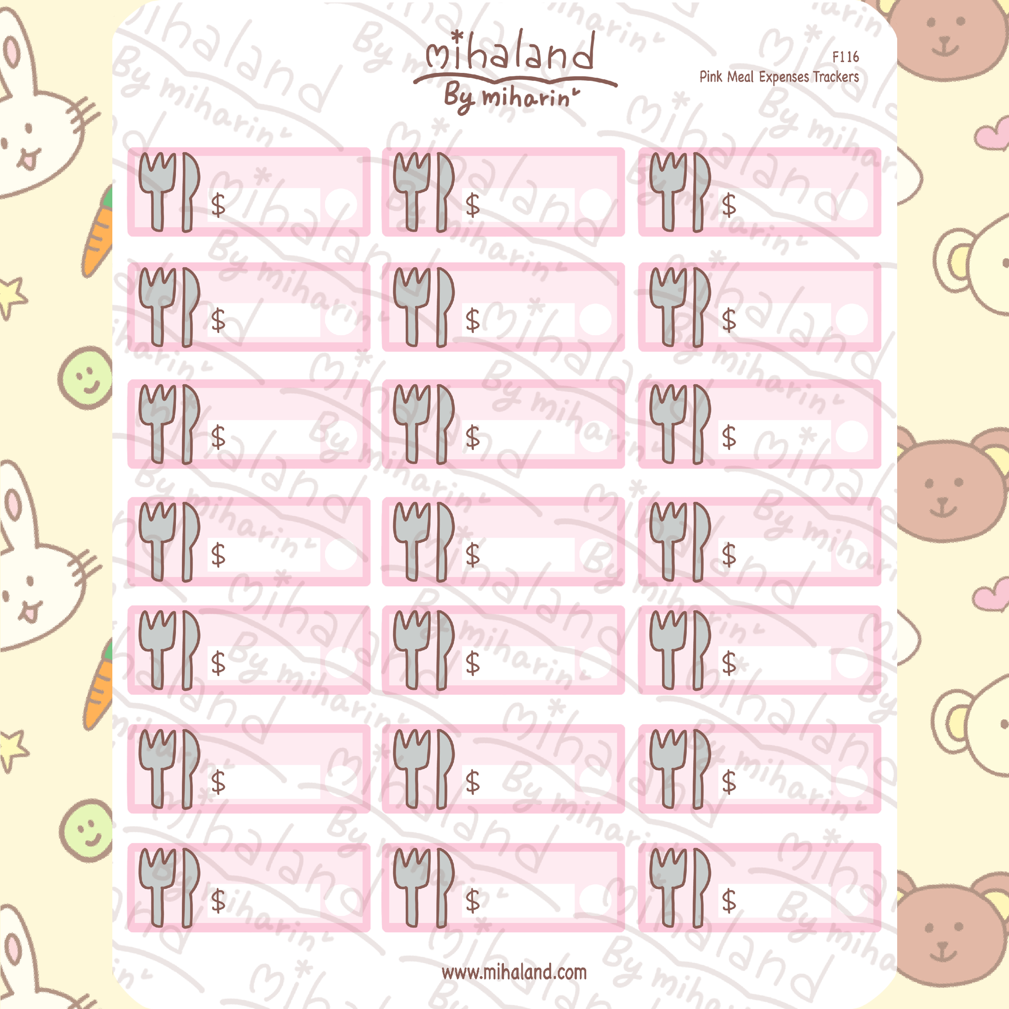 Pink Meal Expenses Trackers Planner Stickers (F116)