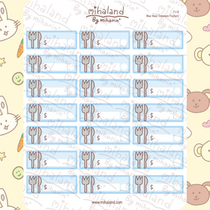 Blue Meal Expenses Trackers Planner Stickers (F118)