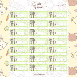 Green Meal Expenses Trackers Planner Stickers (F119)