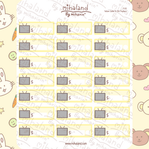 Yellow Cable TV Bill Trackers Planner Stickers (F122)