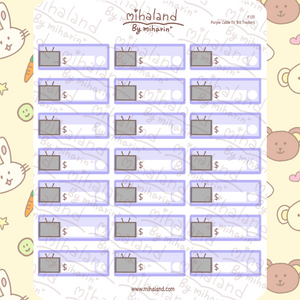 Purple Cable TV Bill Trackers Planner Stickers (F125)