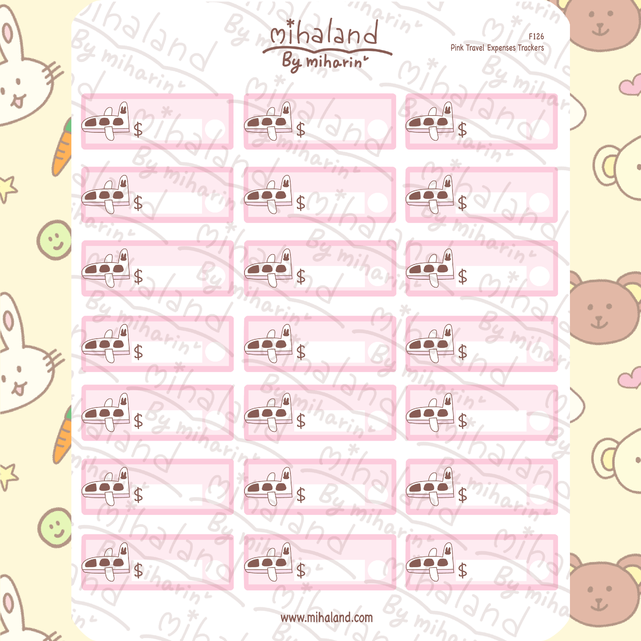 Pink Travel Expenses Trackers Planner Stickers (F126)