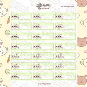 Green Travel Expenses Trackers Planner Stickers (F129)