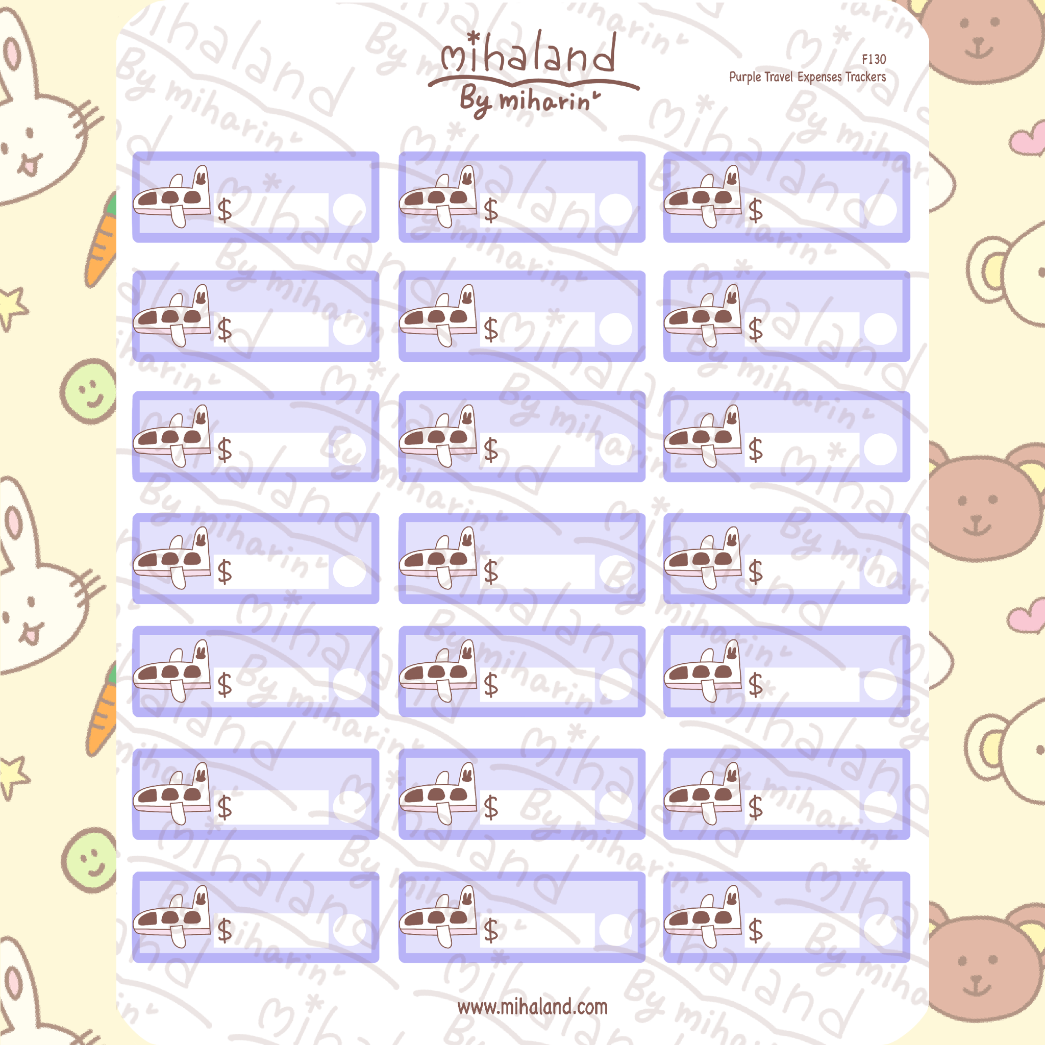 Purple Travel Expenses Trackers Planner Stickers (F130)
