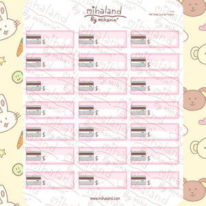 Pink Credit Card Bill Trackers Planner Stickers (F146)