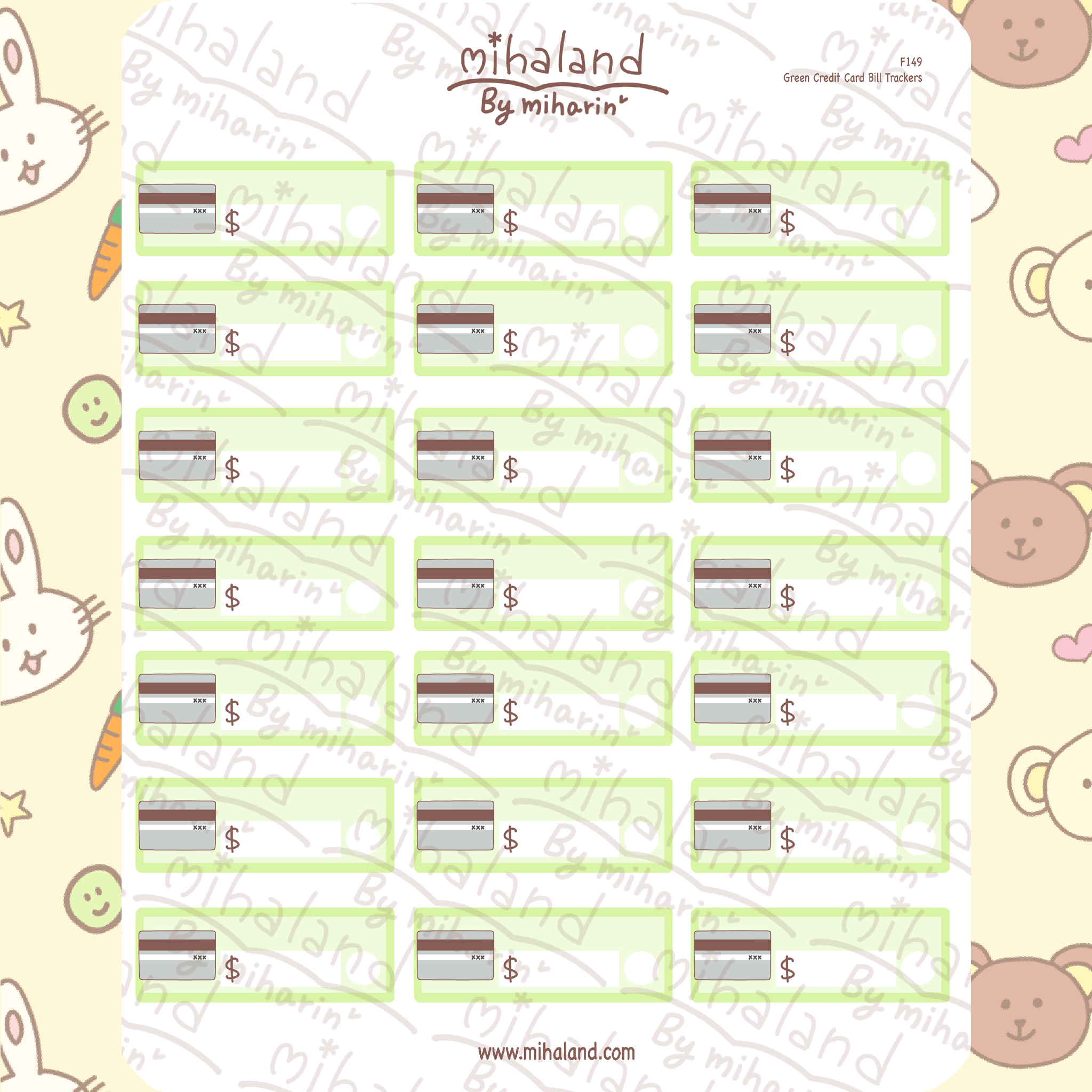 Green Credit Card Bill Trackers Planner Stickers (F149)