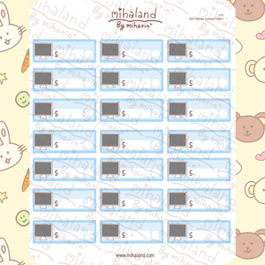 Blue Computer Expenses Trackers Planner Stickers (F153)
