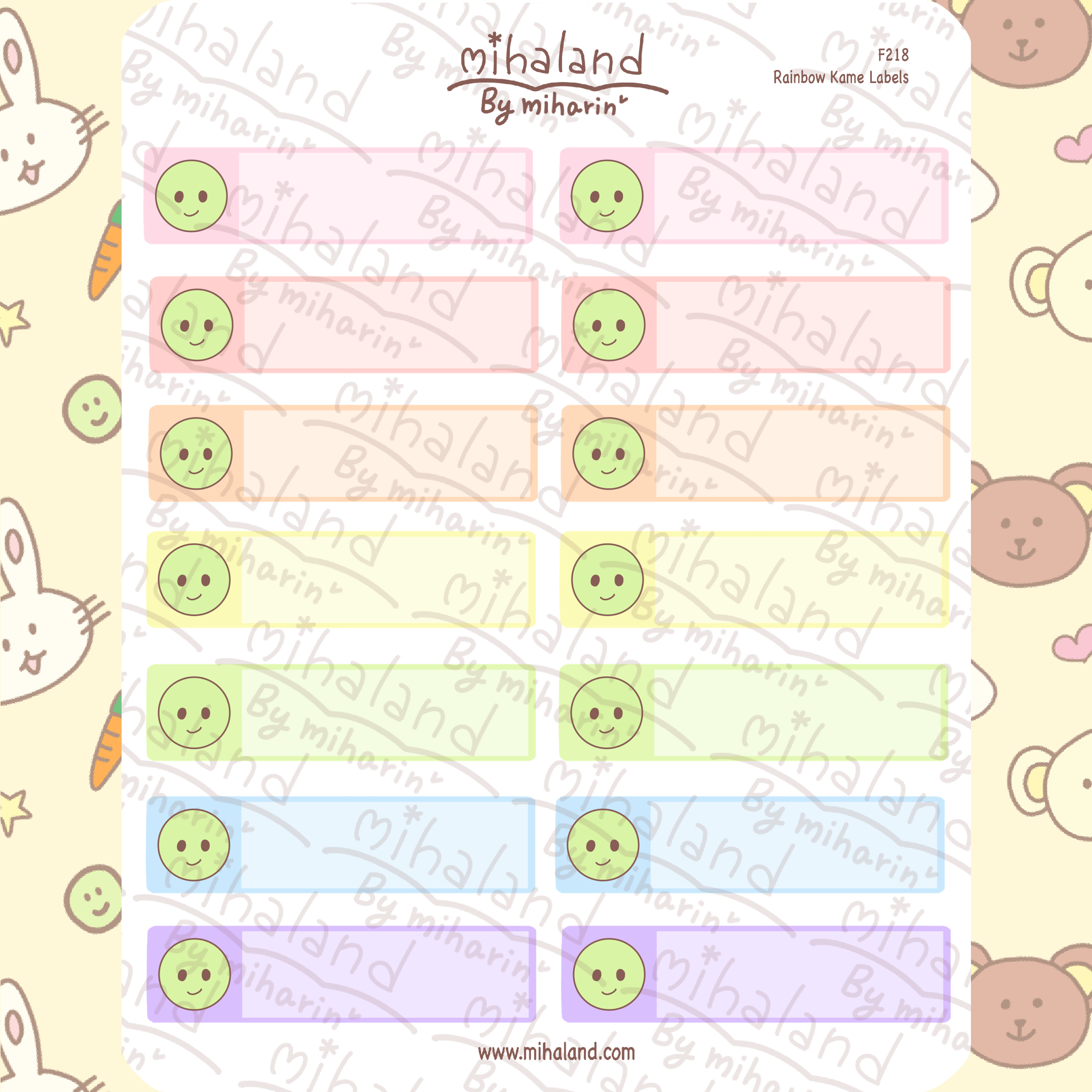 Rainbow Kame Labels Planner Stickers (F218)