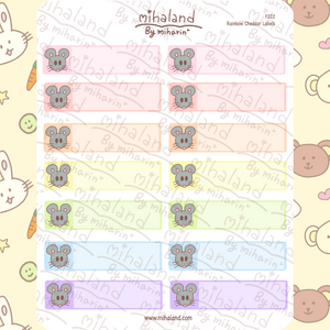 Rainbow Cheddar Labels Planner Stickers (F222)