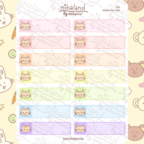 Rainbow Mel Labels Planner Stickers (F224)