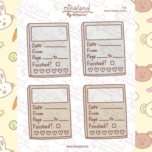 Neutral Reading Trackers Planner Stickers (F226)