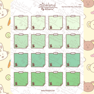 Assorted Green Miyu Sticky Notes Planner Stickers (F237)