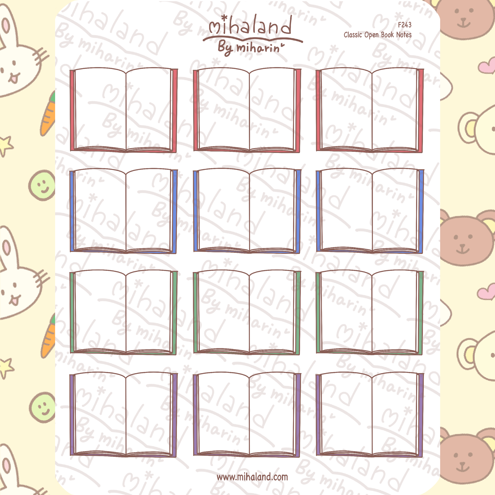 Classic Open Book Notes Planner Stickers (F243)