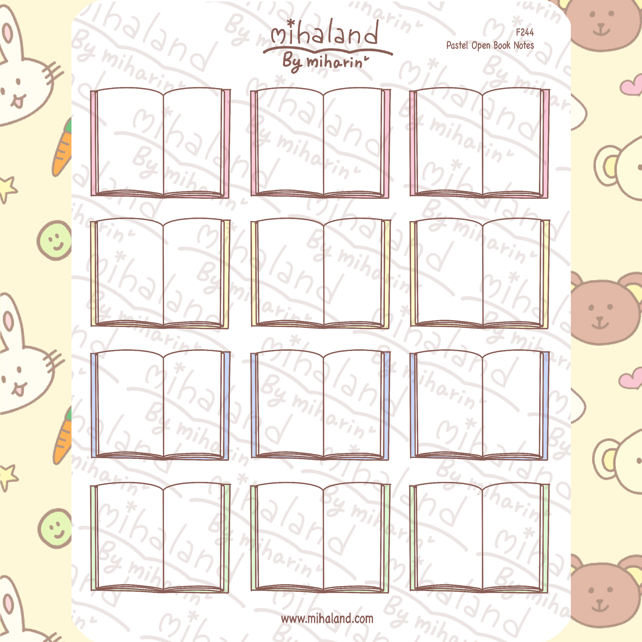 Pastel Open Book Notes Planner Stickers (F244)