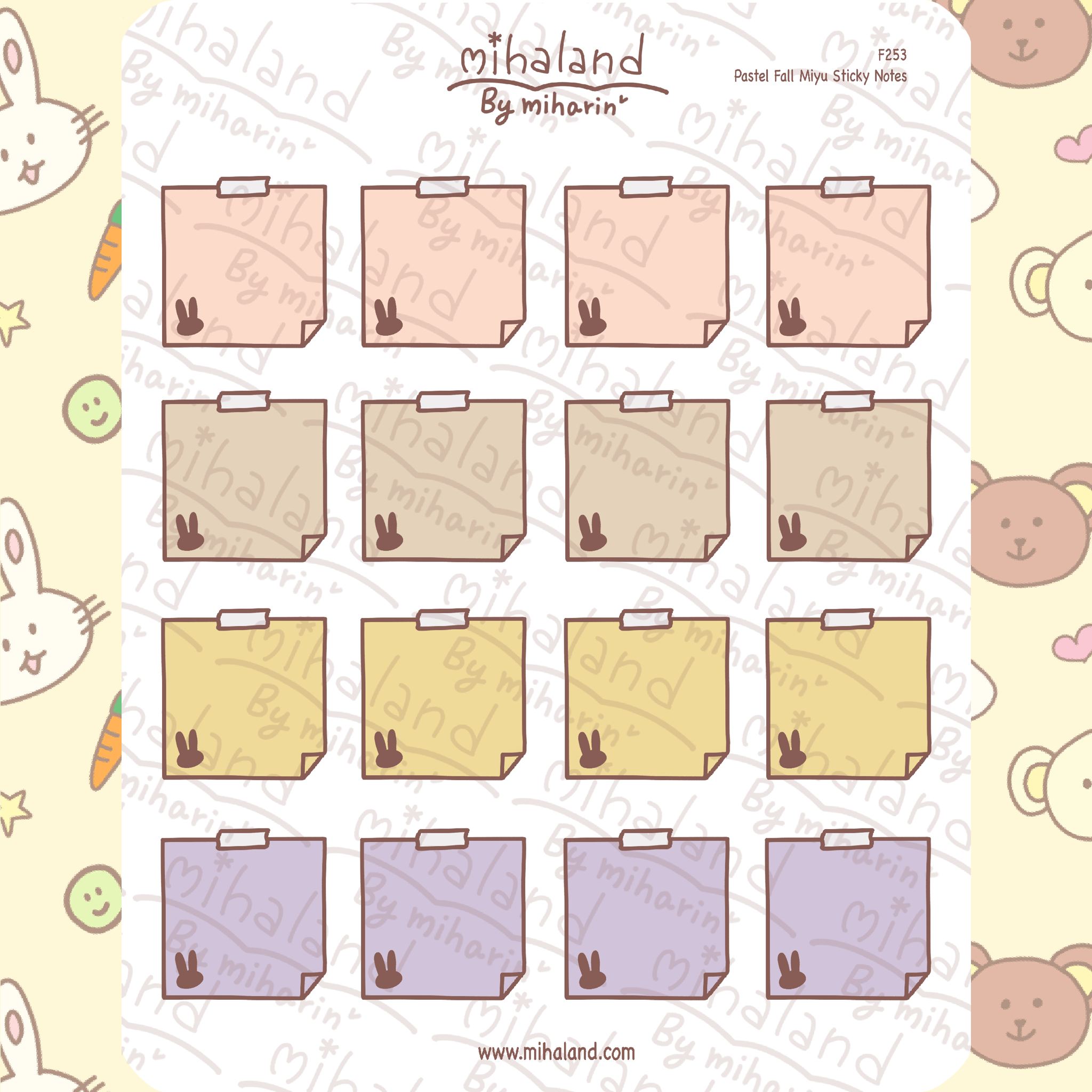 Pastel Fall Miyu Sticky Notes Planner Stickers (F253)