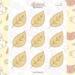 Yellow Leaf Notes Planner Stickers (F254)