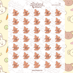 Maple Leaf Date Covers Planner Stickers (F258)
