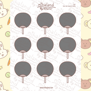 Black Idol Uchiwa Fan Notes Planner Stickers (F263)