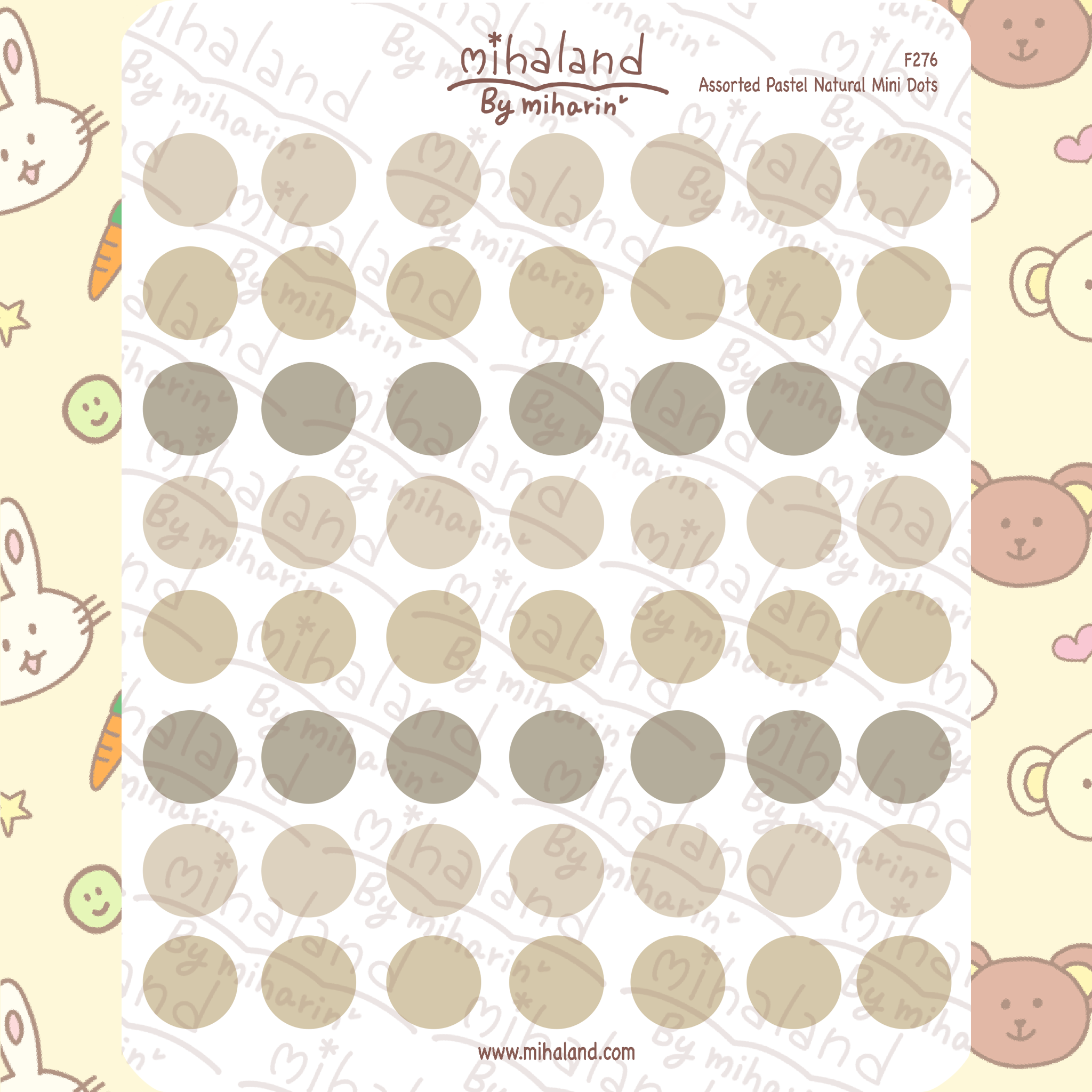 Assorted Pastel Natural Mini Dots Planner Stickers (F276)